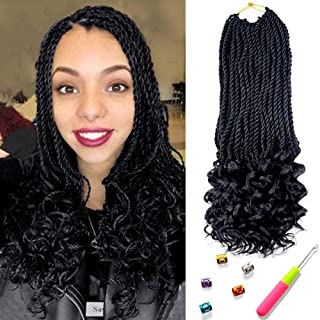 Senegal Twist Curly Goddess Crochet Hair Synthetic Hair Extension Senegalese Twist Hair Crochet Braids 18inch 6Packs 30Strands/Pack