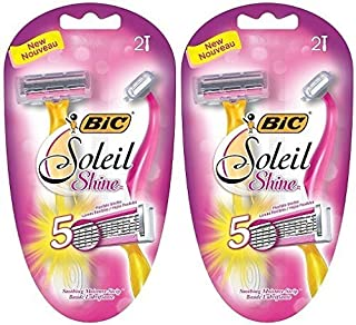 Bic Soleil Shine Razor For Women - 5 Flexible Blades - 2 Count Razors Per Package - by BIC