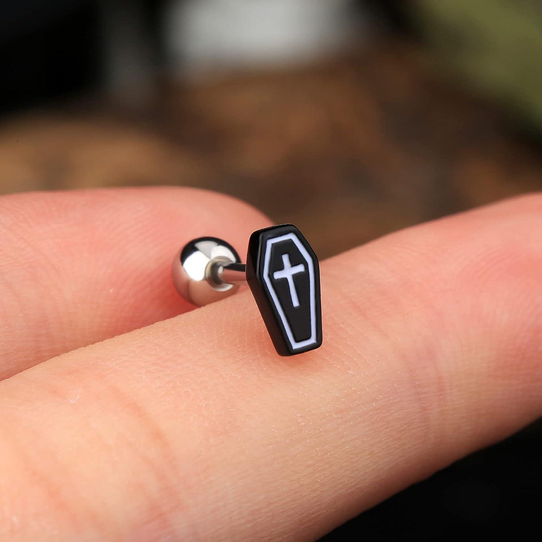 JEWSEEN Tragus Earring Coffin Helix Earring 16g Conch Earring Black Epoxy Cartilage Earring Body Jewelry for Halloween Day