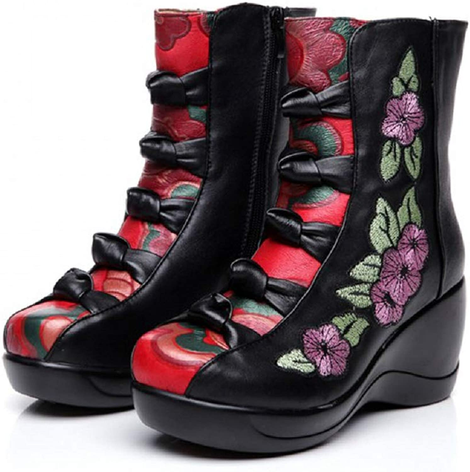 LingGT Wedge Heel Boots Women Embroidery Flower Mixed color shoes (color   Black, Size   CA 9)