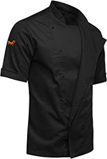 strongAnt® Men Chef Jacket | Professional Chef Uniform Cotton Modern Slim Fit Short and Long Sleeves | White/Black