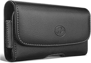 NEM Horizontal Leather Carrying Case with Magnetic Closure, Belt Clip and Loops, Compatible with Nokia Lumia 928, 925, 920, 822, 820, 808 or 720 with a Thick Protective Case on it