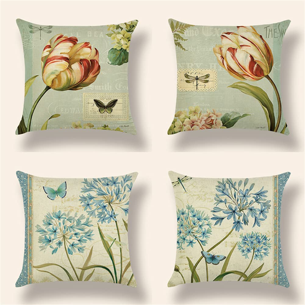Set Max 48% OFF of 4 Retro Print Pillow Max 51% OFF Decor Covers Throw Case Home