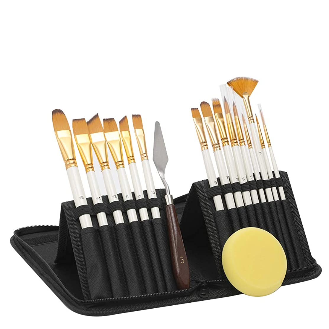 Acrylic Paint Brush Set –15 PC Art Paint Brushes – Free Painting Knife & Watercolor Sponge and Pop-up Carrying Case for Acrylic, Oil, Watercolor and Gouache Painting