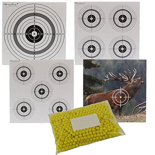 Set: UMAREX Softair BB 5000er Flachbeutel Softairmunition 6 mm gelb 0,12 Gramm + je 2 ShoXx. Zielscheiben / Schießscheiben 10er Ring, 4er Ring, 5er Ringscheibe + 1 Zielscheibe Hirsch
