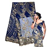 Royal Blue African Lace Stoff Pailletten French Tüll