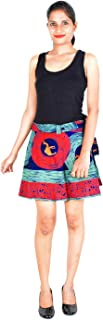 Women's Cotton Animal Print Regular Wrap Around Short Skirt (W15NT_0008; Blue)
