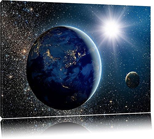 Pixxprint Erde im Weltall Format: 120x80 auf Leinwand, XXL riesige Bilder fertig gerahmt mit Keilrahmen, Kunstdruck auf Wandbild mit Rahmen, günstiger als Gemälde oder Ölbild, kein Poster oder Plakat