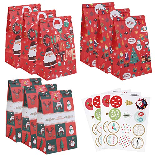 Naler 24 Bolsas de Papel Navidad Bolsa para Regalos, Dulces, Galletas, Bolsas de Envoltura de Regalos (3 Estilos, Rojo)