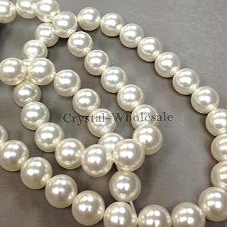 100 Swarovski Crystal Pearls 6mm Round Beads (5810). 24 Inch Loose Strand (White)