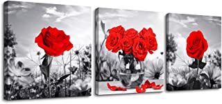 Canvas Wall Art for Bedroom Black and White Landscape red Rose Flowers Bathroom Wall Decor Canvas Prints Watercolor 12