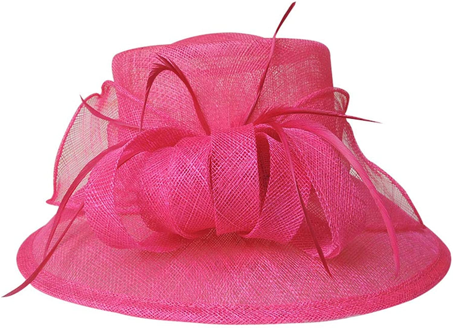 ZUOANCHEN Sun Hat Summer Female Hat Rolled Edge Flower Big Eave Hat Brim Hat in The Summer Hats Tea Party Wedding Dress Cap (color   Pink)