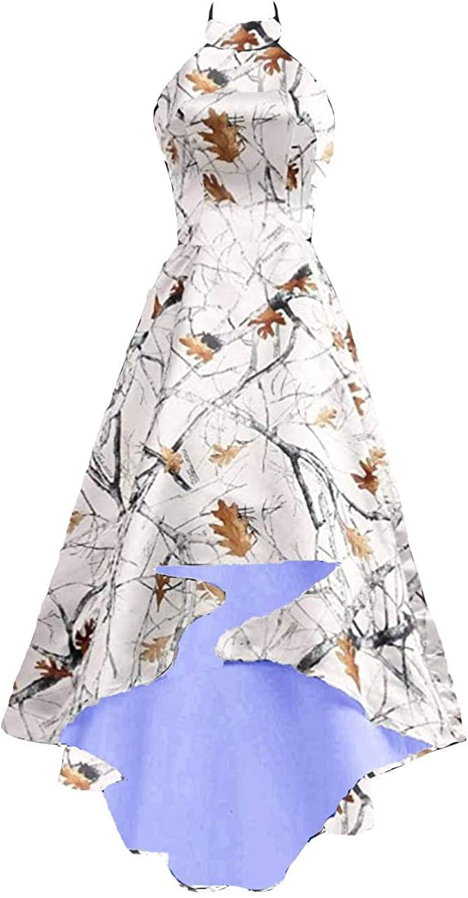 DINGZAN High Max 57% OFF Low White Camo with Dresses Wedding Bridal Satin Re Max 50% OFF