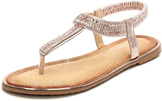 f48da9c6ba51 Meeshine Women Bohemia Flat Sandals Summer Beach Glitter Beads Elastic T-Strap  Flip-Flop