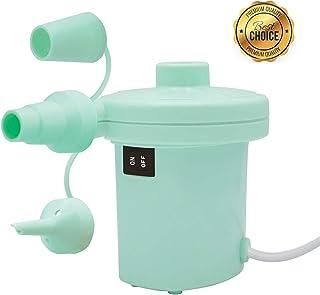 Portable Electric Air Pump, Inflator/Deflator Electric Pump, Pool Float Pump, Air Mattress Pump 120V AC/12V DC for Inflatables Mattress Bed Lake Floats Rafts Pool Toys (Aqua)