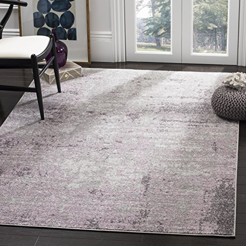 Safavieh Adirondack Collection ADR130M Modern Abstract Non-Shedding Stain Resistant Living Room Bedroom Area Rug, 8' x 8' Square, Light Grey / Purple