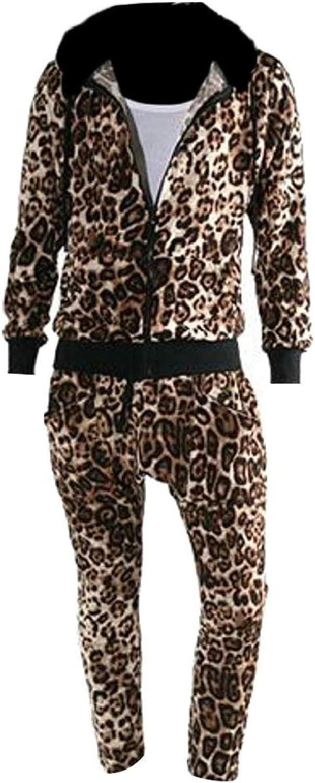 TDCACA Mens Autumn Winter Zipper Leopard Print Tracksuit Sweatsuit 2 Piece