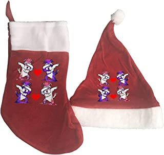Allgobee Christmas Stocking and Hat Funny Dabbing Schnauzer Xmas Decorations and Party Accessory