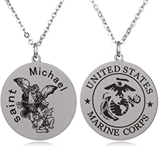 St Michael The Archangel Marine Corps Air Force Army Navy Coast Guard Round Tag Necklace Military Religious Faith Gift