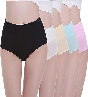Braguita de Talle Alto Algodón para Mujer Pack de 5 Culotte Bragas de Cintura Alta Cómodo Talla