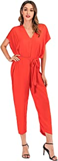 NA Women's Jumpsuit Loose Wide Legs Casual Overall Playsuit Fit Long Pant Jumpsuits Romper with Belt