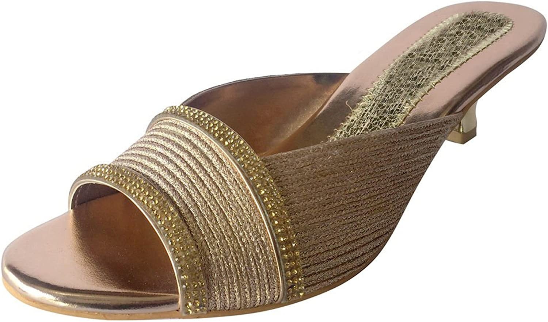 Step n Style Women Heels Diamante Party Wedding shoes Evening Saree Mojari Jooti