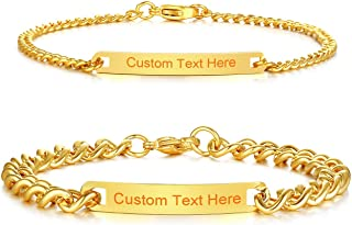 SunnyHouse Jewelry His and Hers Matching Set Titanium Stainless Steel Personalized Couple Bracelet Custom Engraving