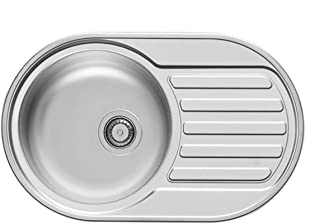 Pyramis SR Mini Edelstahl-Spüle glatt oval Küchenspüle Drehexzenter Einbauspüle