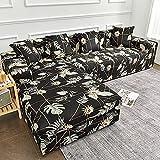 WXQY Funda de sofá de Esquina con Estampado Floral, Funda de sofá de Sala de Estar, sofá de combinación elástica con Manga Deslizante, sofá Chaise Longue A3 de 3 plazas