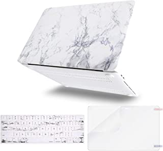 MOSISO MacBook Pro 15 inch Case 2019 2018 2017 2016 Release A1990 A1707, Plastic Pattern Hard Shell & Keyboard Cover & Screen Protector Compatible with MacBook Pro 15 Touch Bar, White Marble