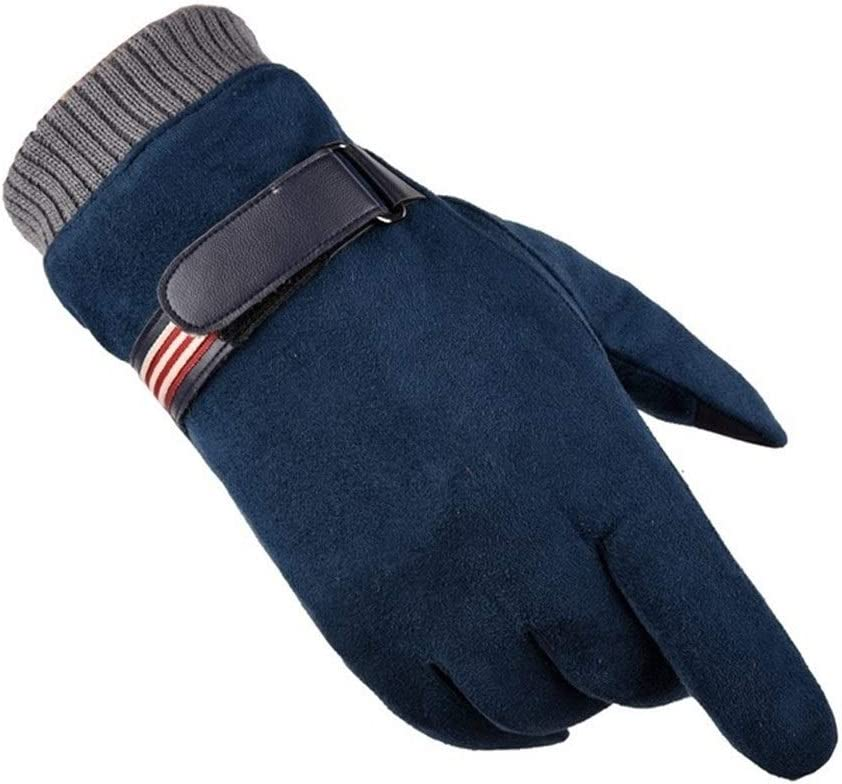 Lupovin-Keep Warm Winter Gloves Men's Touch Screen to Increase Down Jackets Outdoor Sports Cycling Suede Down Gloves Warm Gloves Wool Gloves Stretch Warm Knitted Gloves Non-Slip