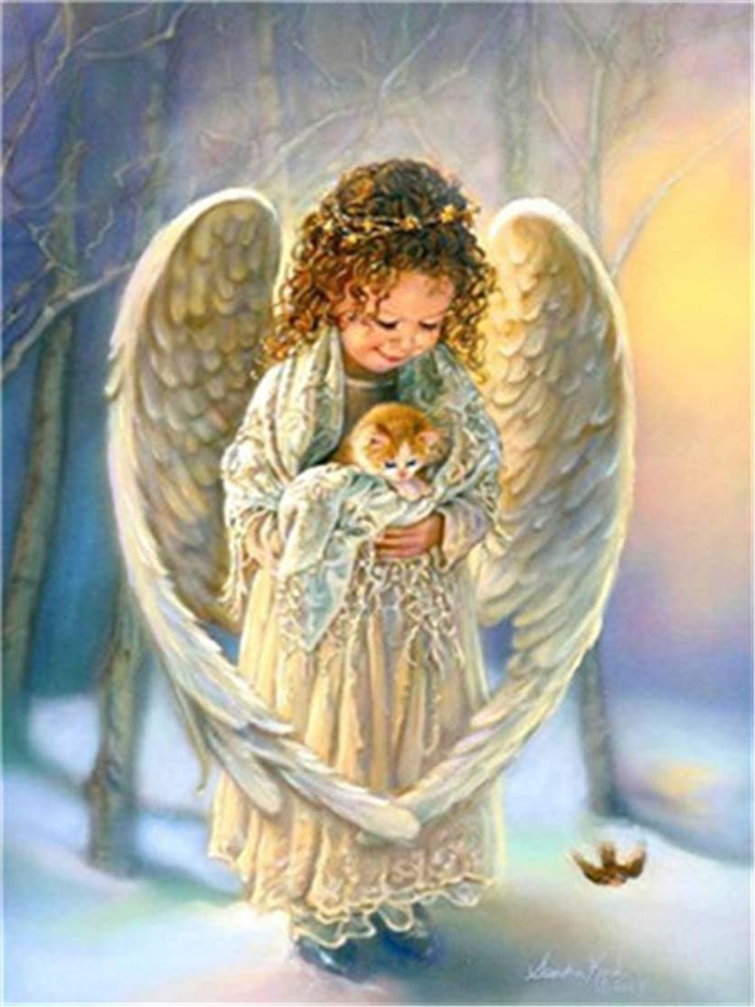 DIY Oil Painting Paint by Number Kit for Kids Adults Beginner 16x20 inch - Angel Girl Holding Cat, Drawing with Brushes Christmas Decor Decorations Gifts (Frame)
