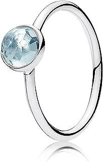 March Droplet Ring, Aqua Blue Crystal, 7.5 US, 191012NAB-56