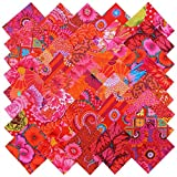 Kaffe Fassett RICH REDS MAGENTA PINK Precut 5-inch Cotton Fabric Quilting Squares Charm Pack Assortment Westminster Fibers