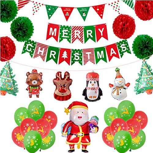 Jinlaili Globo de Navidad, Kit de Globos de Decoraciones navideñas, Globo de Látex, Flor de Papel, Christmas Balloons Globos de Aluminio para Decoración de Navidad, Santa Claus, Decoración navideña