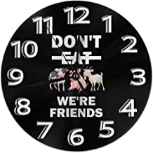 Round Wall Clock Shelf Clock Retro Don't Eat Animals, We are Friends Printed for Home House Office School Decorative No Ticking Numbers Display Battery Operated 9.84 Inch