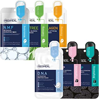 MEDIHEAL Sheet Mask Heroes, NMF, Tea Tree, Collagen, WHP, DNA, HDP, 6 Variety Pack