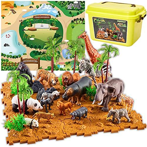 TOEY PLAY Animales de Juguete, Figuras Animales Salvajes con Tapete de Juego y Maleta, Regalo Juguetes Niños Niñas 3 4 5 6 Años
