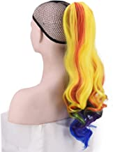 Multicolor Ponytail Wig Rainbow Ponytail Hair Extensions for Women Long Wavy Ponytail Clip in Claw Ponytail(wavy hair)