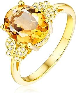 Daesar Anelli Donna Matrimonio Oro Giallo 18K 2.23ct Citrino Giallo Ovale Anello con Diamante Donna Anello Oro Donna