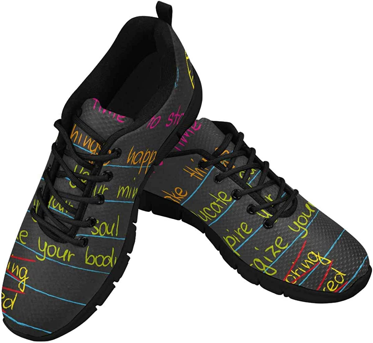 INTERESTPRINT Educate Your Mind, Inspire Your Soul Women's Athletic Mesh Breathable Casual Sneakers