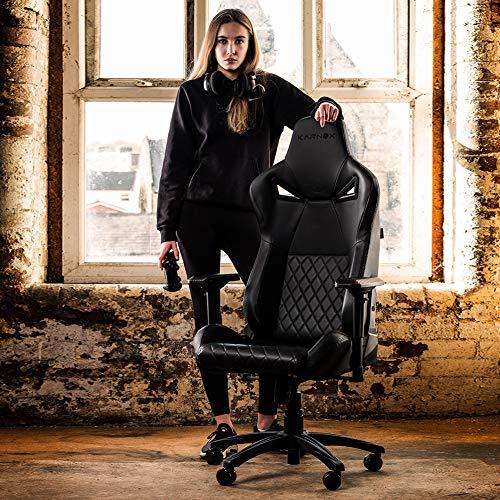 KARNOX LEGEND TR ゲーミングチェア 座椅子 オフィスチェア パソコンチェア 人間工学チェア デスクチェア PU&スエードレザー 155無段階リクライニング ハイバック ヘッドレスト調節可能ランバーサポート 腰痛対策 肉厚アームレストオットマ