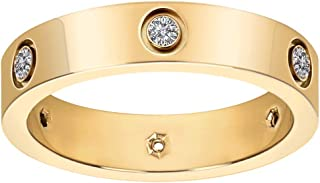 Fashion Classic 18K Gold Plated Titanium Steel Women Ring Best Gifts Couples Val