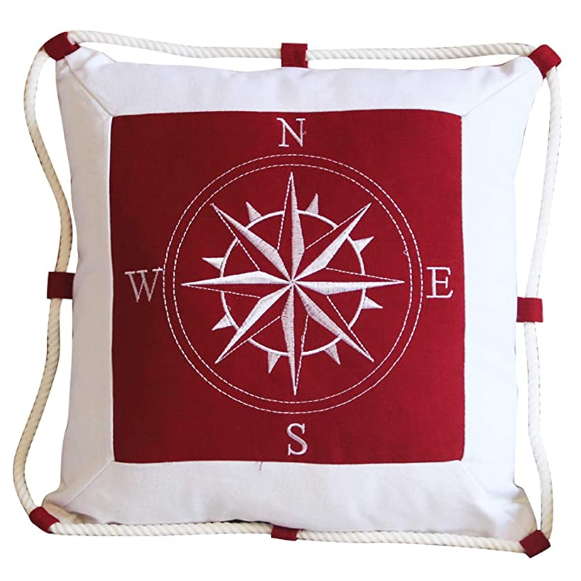Ozzptuu Mediterranean Style Nautical Compass Throw Pillow with Rope Decorative Sofa Couch Beach Theme Pillow (Red)