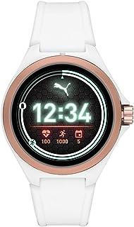 PUMA Sport - Män 44 mm puls smartwatch, vitt silikonband lätt pekskärm - PT9102