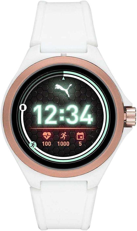 PUMA Sport - Montre Intelligente pour cardiofréquencemètre, 44 mm pour Homme, Écran Tactile léger avec Bande en Silicone Blanche - PT9102
