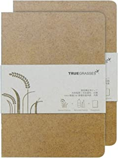 TRUEGRASSES Hardcover Notebook (5x7), Flat Open, Straw + PP, Recycled Paper, Cream (off-white), 70gsm, 160 Sheets, Grid (S...