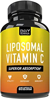 Liposomal Vitamin C Capsules - with Ascorbic Acid for Superior Absorption - High Dose Vitamin C Supplement for Adults - Im...