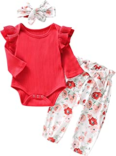 Baby Girls Long Sleeve Red Romper Floral Trouser Headband 3 Pieces Toddler Cotton Outfits Set for 0-24 Months (0-3 Months,...