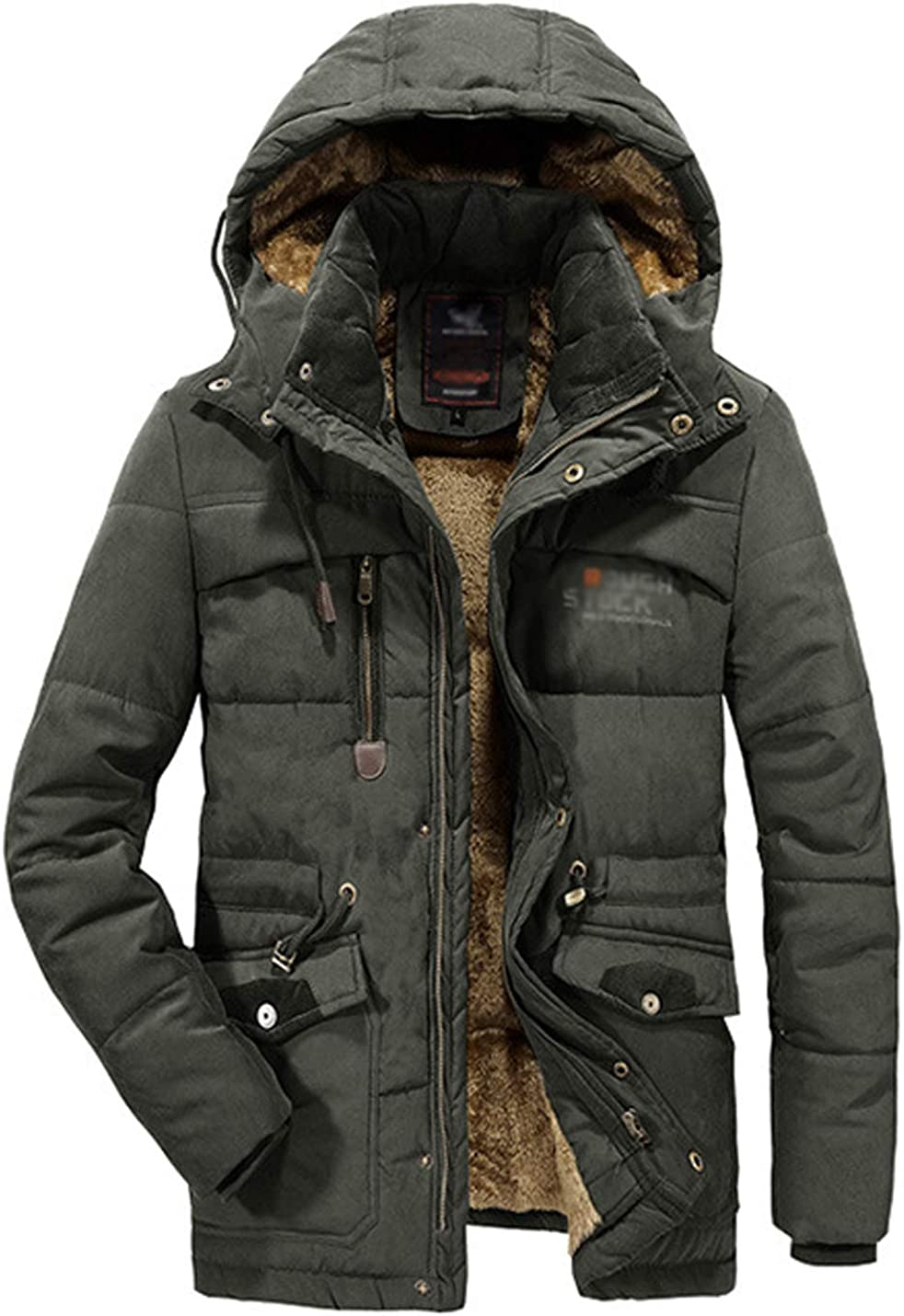 ZGZZ7 Men's Winter Sherp-Lined Jackets Cotton Padded Outerwear Mid-Long Puffy Coats Plus Size